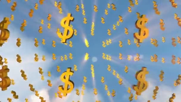 Dollar signs moving in sky
