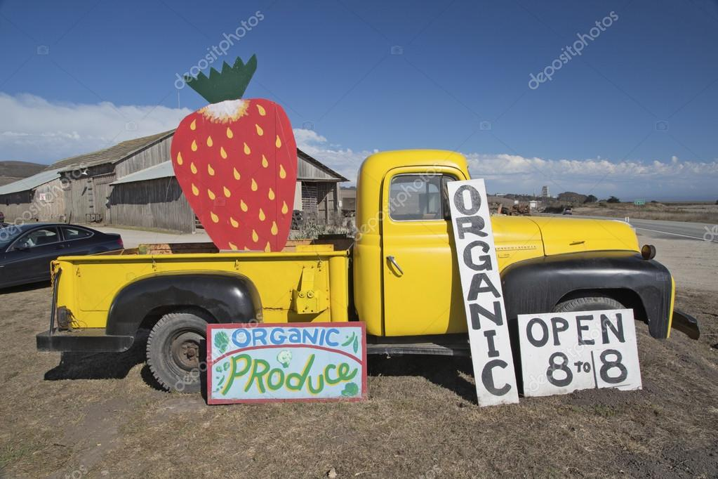 vintage pickup and strawberry