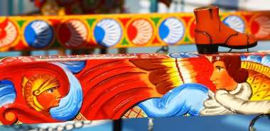 Traditional colorful painted sicilian cart