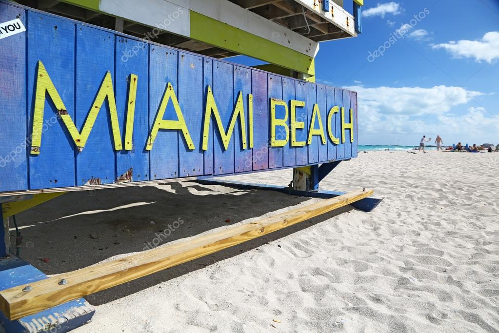 Miami Beach sign on lifeguard hut