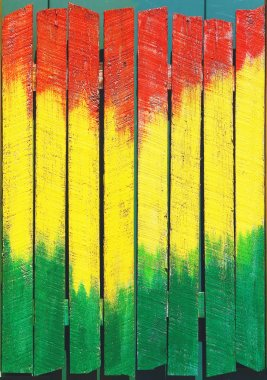 Jamaican background painted on fence