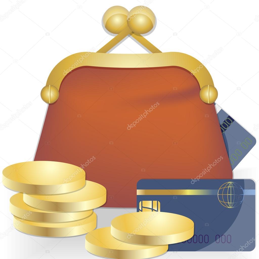 Symbol Bohatstvi Kabelku Kreditni Karta Stock Vektor C Nanaste