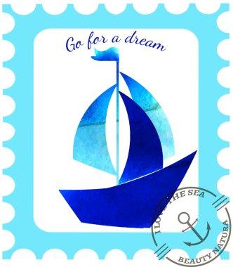 Vector  pattern, doodling design. Hand draw sailing ship. Kids illustration,