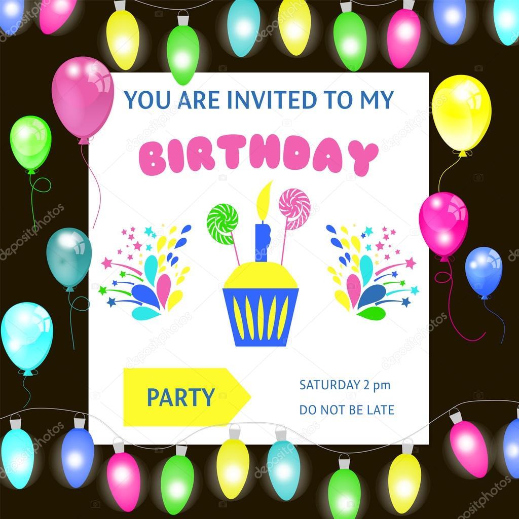 Marco de feliz cumpleaños, invitación de vector fondo — Vector de ...