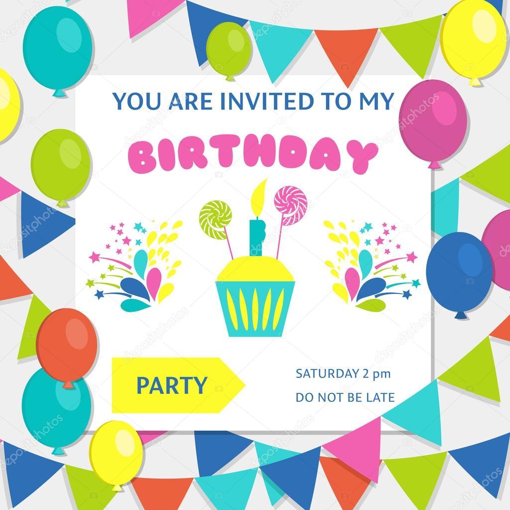 Marco de feliz cumpleaños, invitación de vector fondo — Archivo ...