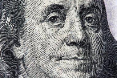 Detail of Benjamin Franklin on 100 Dollar BIll