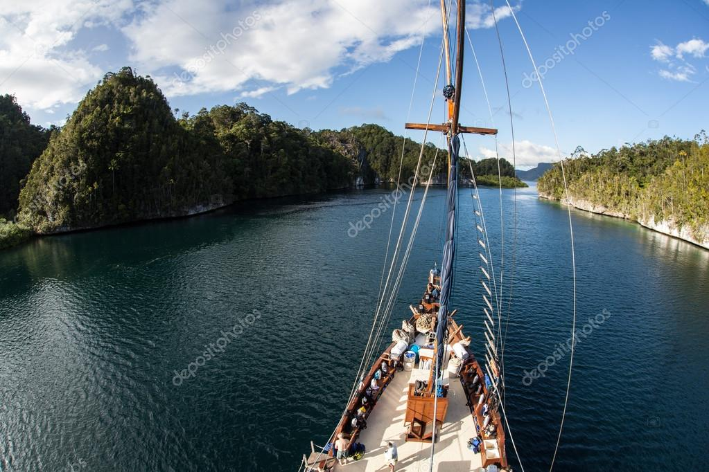Indonesian Schooner and Narrow Channel