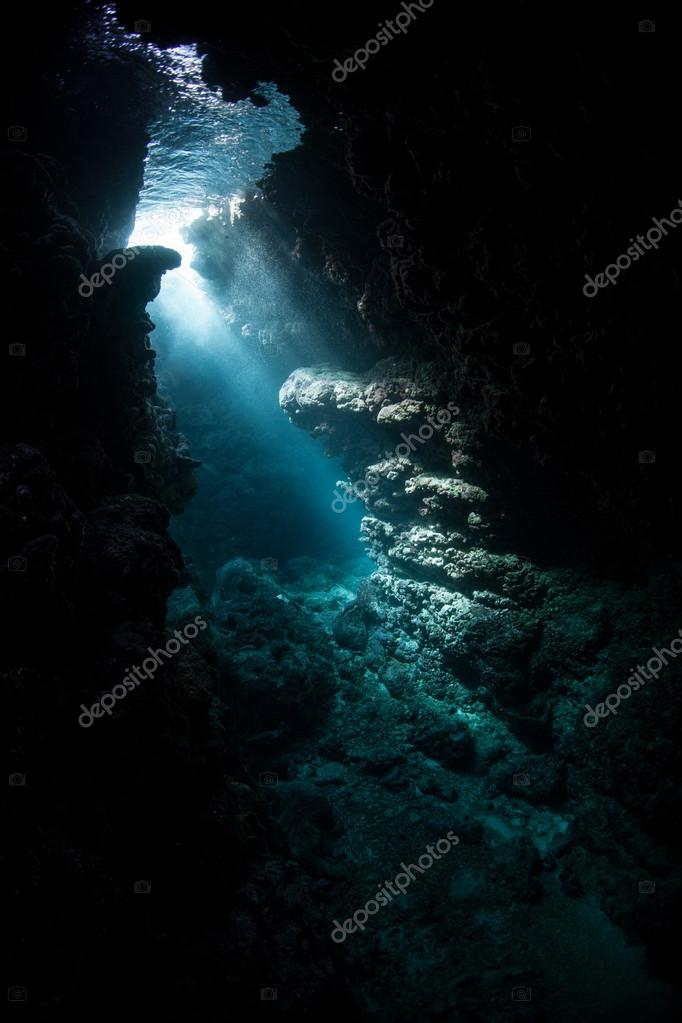 Beams of sunlight pass into the depths of coral reef