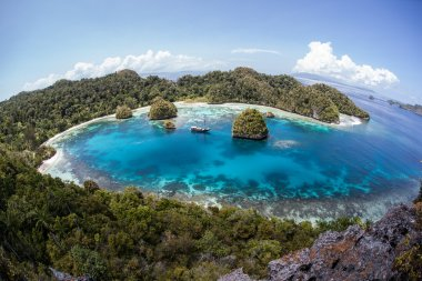 Raja Ampat surrounded by limestone islands