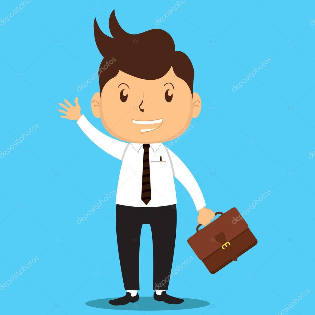 Hombre de negocios de dibujos animados van a trabajo for Imagenes de oficina de trabajo