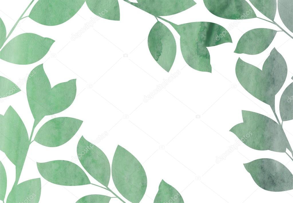 Watercolor Green Leaves Frame Background Stock Photo