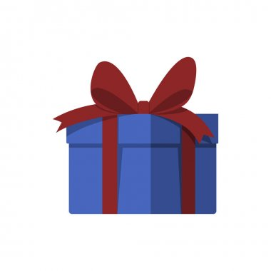 Gift box with a surprise. Color vector illustration of flat style. White isolated background. icon
