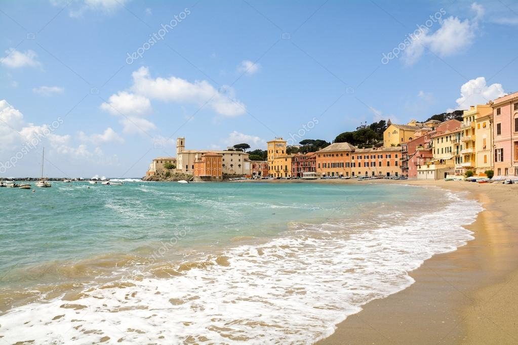 Sestri Levante Liguria Seaside With Old Town And Beach Baia Del