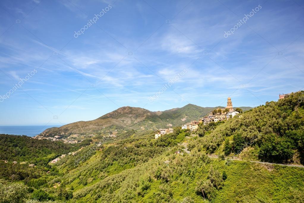 Cinque Terre: View to village Legnaro and coastline with Levanto, Liguria Italy Europe