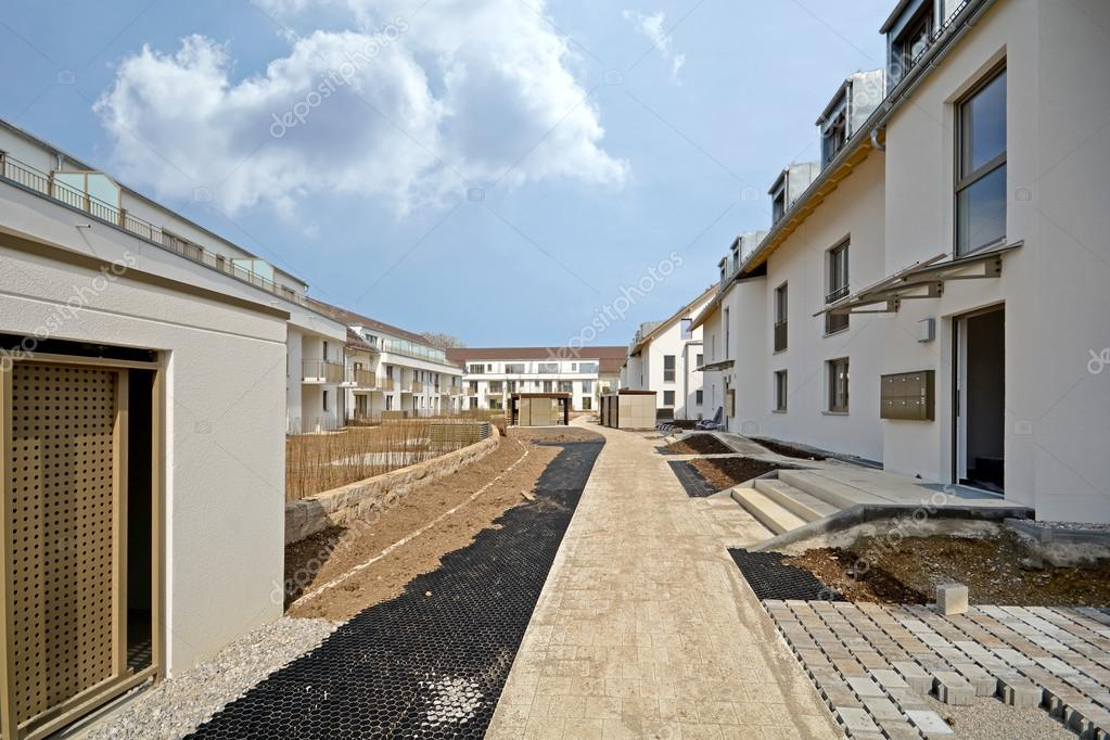 New residential building with outside facilities - Construction work near completion