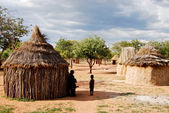 Photo Himba village with traditional huts near Etosha National Park in Namibia, Africa