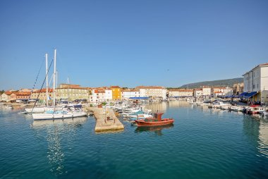 Harbour with old town of Cres, Adriatic sea, Island of Cres, Croatia Europe