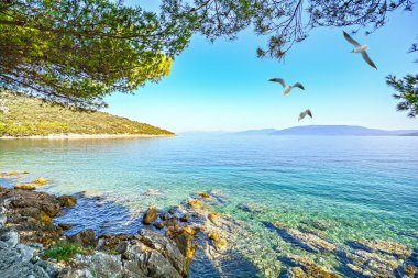 Cres Island, Croatia: View from the beach promenade to the adriatic sea near village Valun