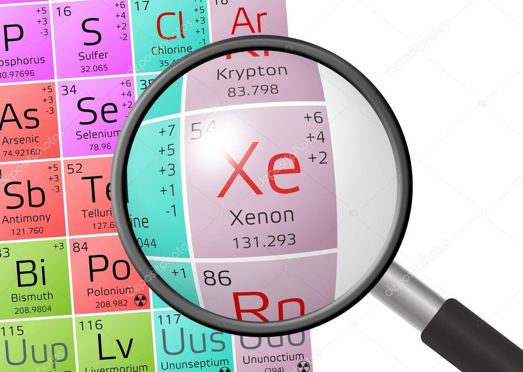 Elemento de xenn con lupa foto de stock andrianocz 122362720 xenn de tabla peridica de los elementos con lupa foto de andrianocz urtaz Image collections