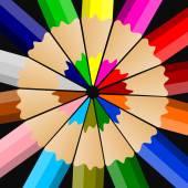 Színes ceruzával vagy zsírkrétát elszigetelt fekete háttér