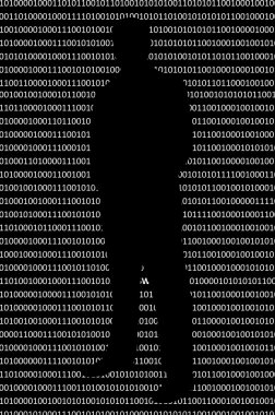 Anonymous hacker without face and binary code background