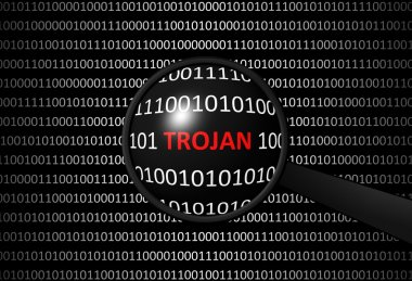 Binary code with TROJAN VIRUS and magnifying lens