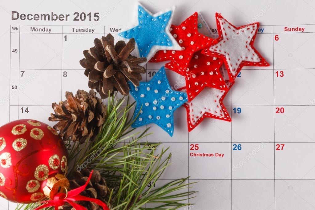 Weihnachten Datum.Hervorhebung Von Weihnachten Datum Kalender Stockfoto