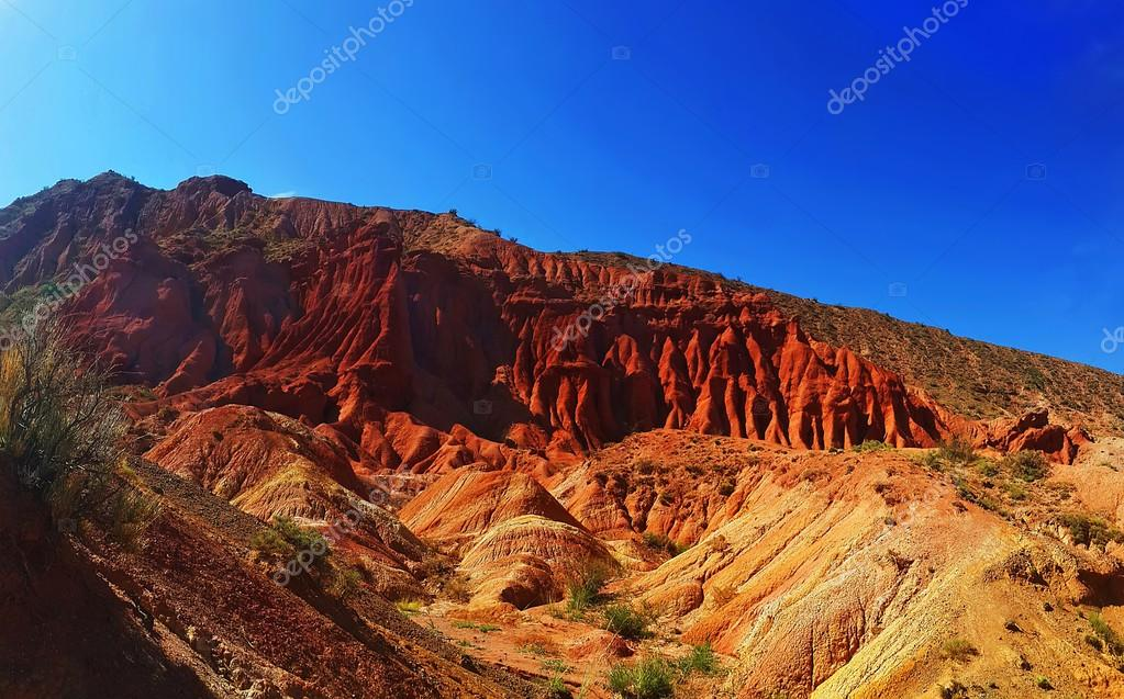 The red mountains of Issyk-Kul