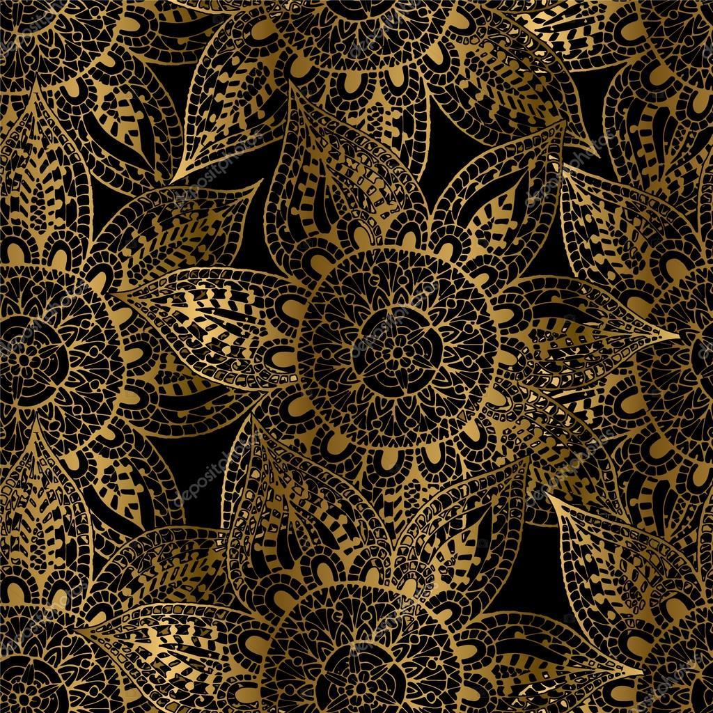 hand gezeichnete orientalische muster gold umrisse auf schwarzem hintergrund stockvektor. Black Bedroom Furniture Sets. Home Design Ideas