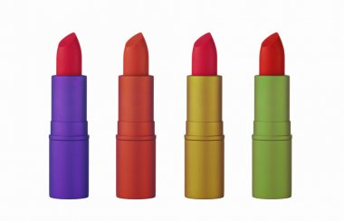 Set of red lipsticks isolated on white background stock vector