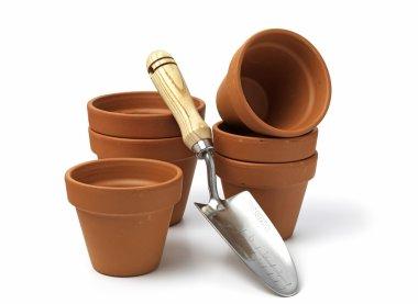 Empty clay plant pots