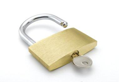 Metal padlock on white