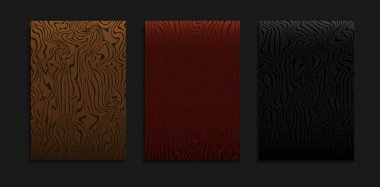 Set Of Minimal Gradient Dark Cover Template With Abstract Wood Line Pattern