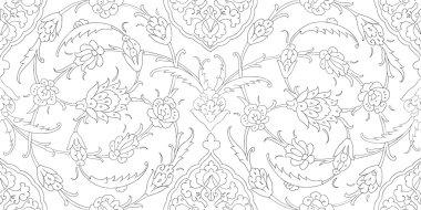 Traditional Arabic  ornament seamless. Floral Ornamental pattern. Iznik .Vector.  Background. Coloring.