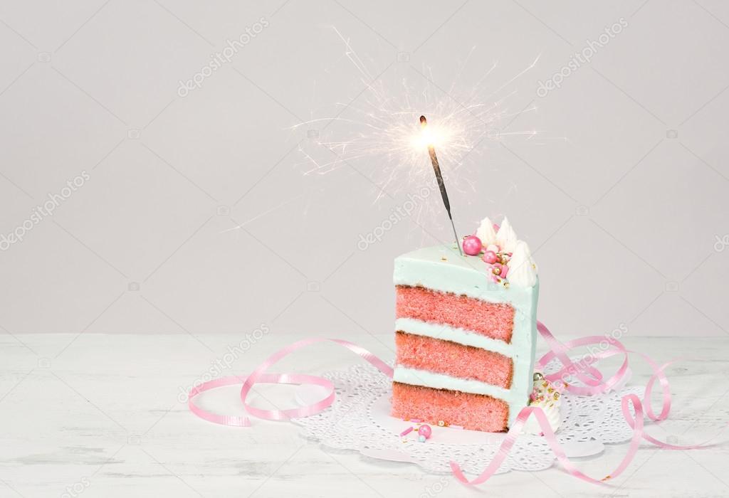 Enjoyable Slice Of Birthday Cake With Sparkler Stock Photo C Juliannafunk Personalised Birthday Cards Paralily Jamesorg