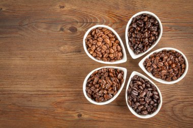 Varieties of fresh roasted coffee beans