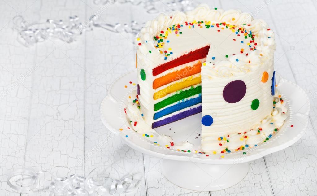 Colorful Rainbow Layered Birthday Cake Stock Photo Juliannafunk