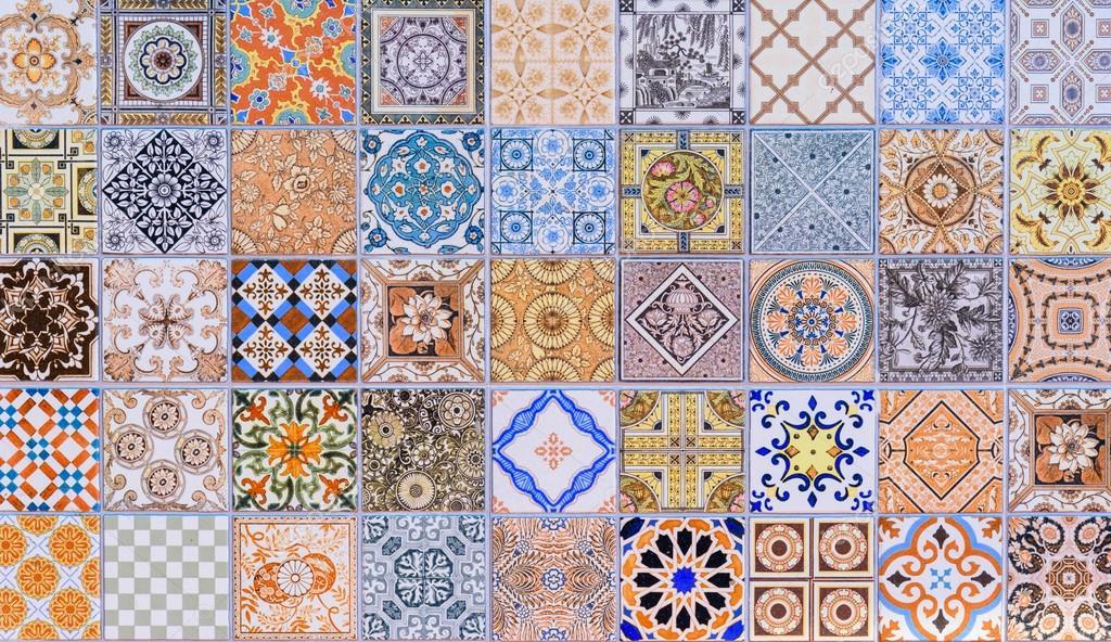 Wall ceramic tiles patterns Mega set from Thailand public park ...