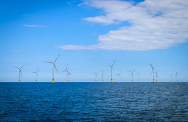 Offshore Wind Turbine in a Windfarm under construction off the England