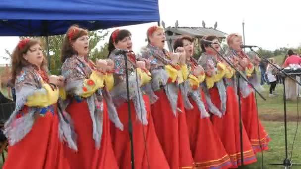 Galushkovka, Ukrajina - 14. října 2020: Lidový umělecký spolek v etnických ukrajinských národních kostýmech vesele zpívá lidové písně a tancuje