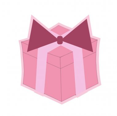 Pink packing box with a bow icon