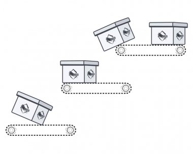 The cardboard box falls down the automatic tape. Vector illustration, white drawing icon