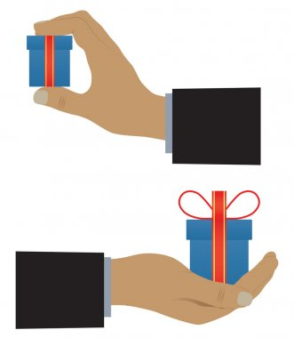 Hand with a box (with a gift).