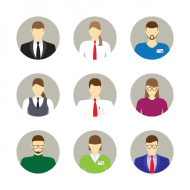 Male and female faces avatars, icons. Business people.