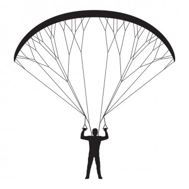 Black silhouette of a man with a paraglider.