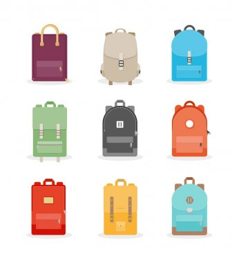 Backpack set. Colorful back packs for school, travel, tourism and sport. Vector illustration, flat design icon