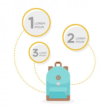 Backpack infographic. Colorful back pack for school, travel, tourism and sport. Vector illustration, flat design icon