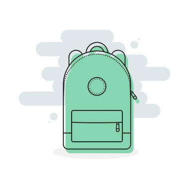 Backpack icon. Colorful back pack for school, travel, tourism and sport. Vector illustration, flat design icon