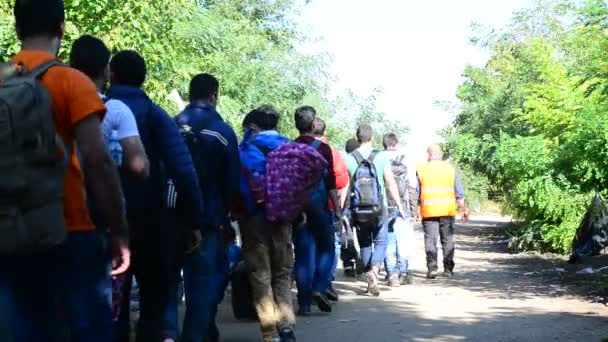Group of refugees leaving Serbia