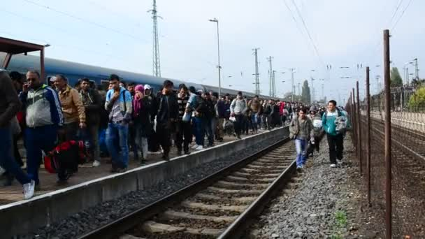 Group of refugees leaving Hungary